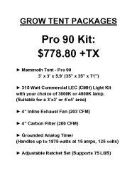 Pro 90 Grow Tent Package